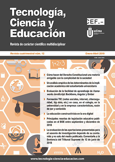 Ver Revista Tecnología, Ciencia y Educación N.º 12 Enero-Abril 2019